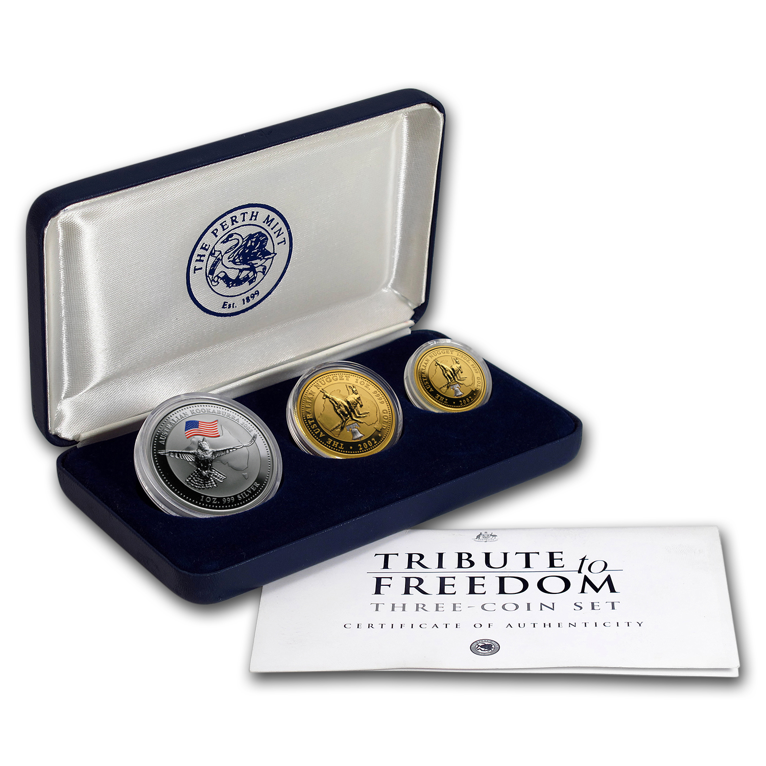2002 Perth Mint 3-Coin Tribute to Freedom Proof Set