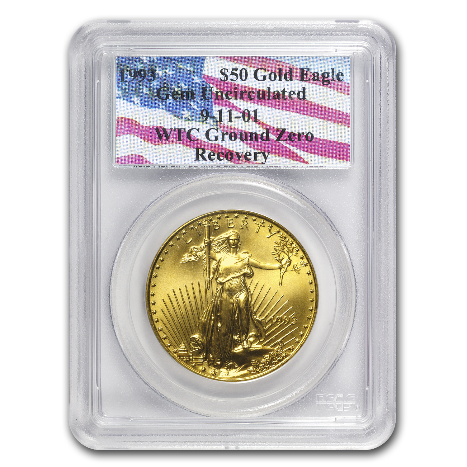 1993 1 oz Gold American Eagle Gem Unc PCGS (World Trade Center)