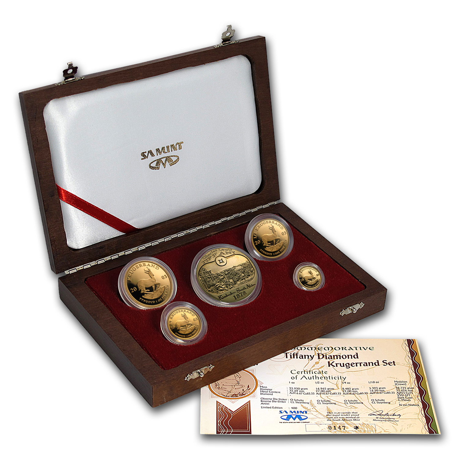 2003 5-Coin Gold South African K-Rand Tiffany Diamond Prf Set