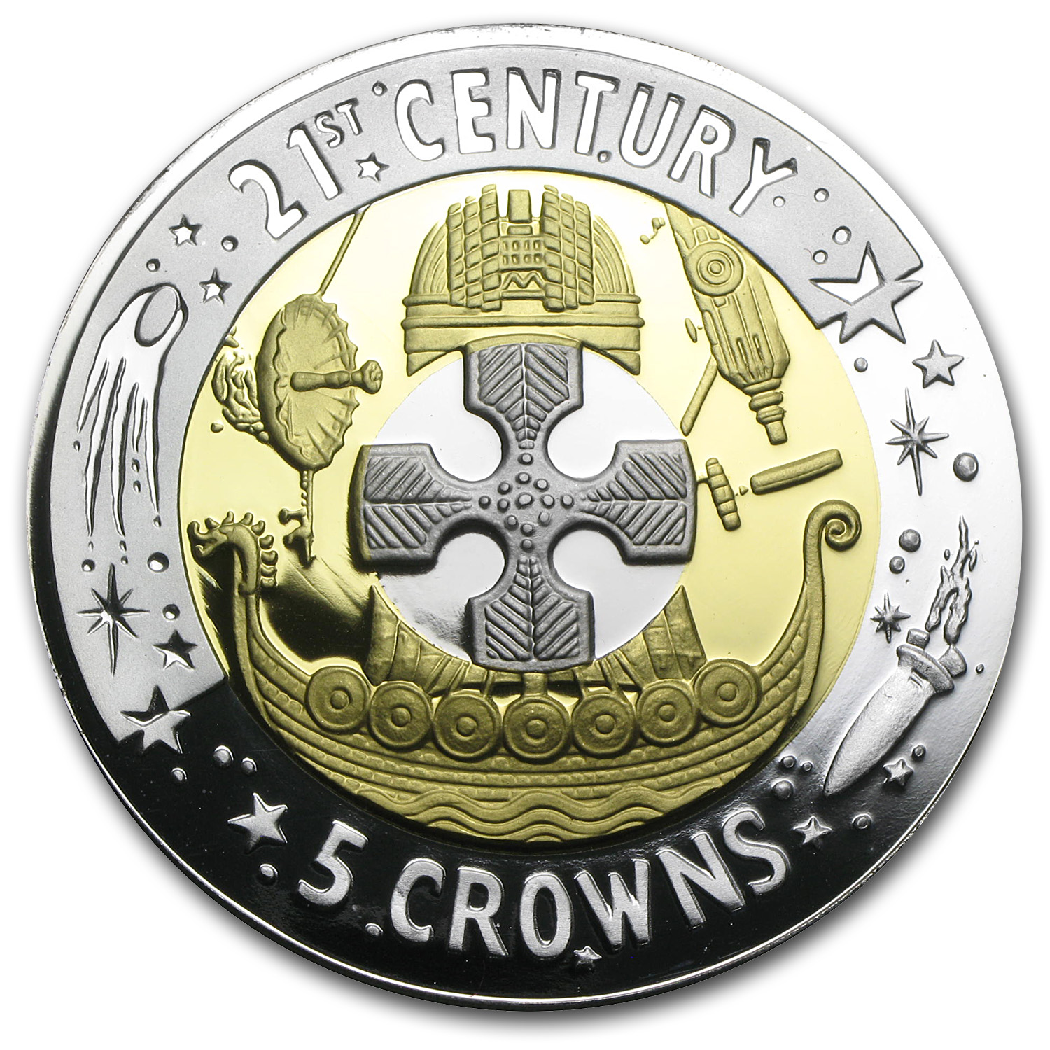 2001 Gibraltar Proof Tri-Metal 5 Crown