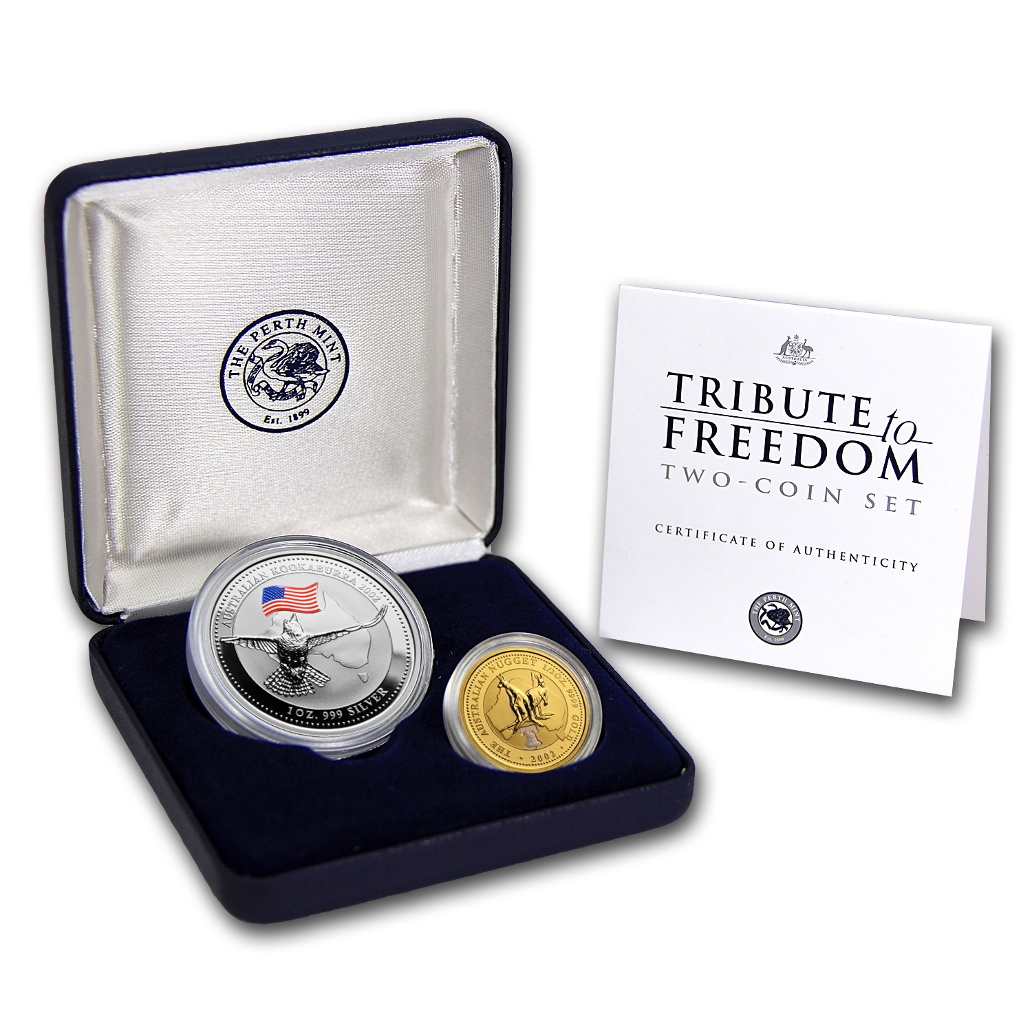 2002 Perth Mint 2-Coin Tribute to Freedom Proof Set