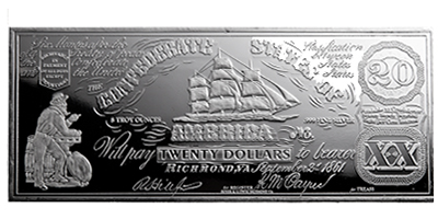 8 oz Silver Bar - $20 Bill (CSA/1861)