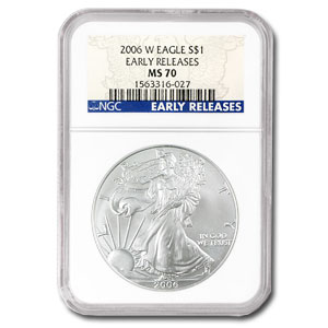 2006-W Burnished Silver American Eagle MS-70 NGC (ER)