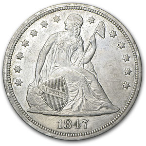 1847 Liberty Seated Dollar XF