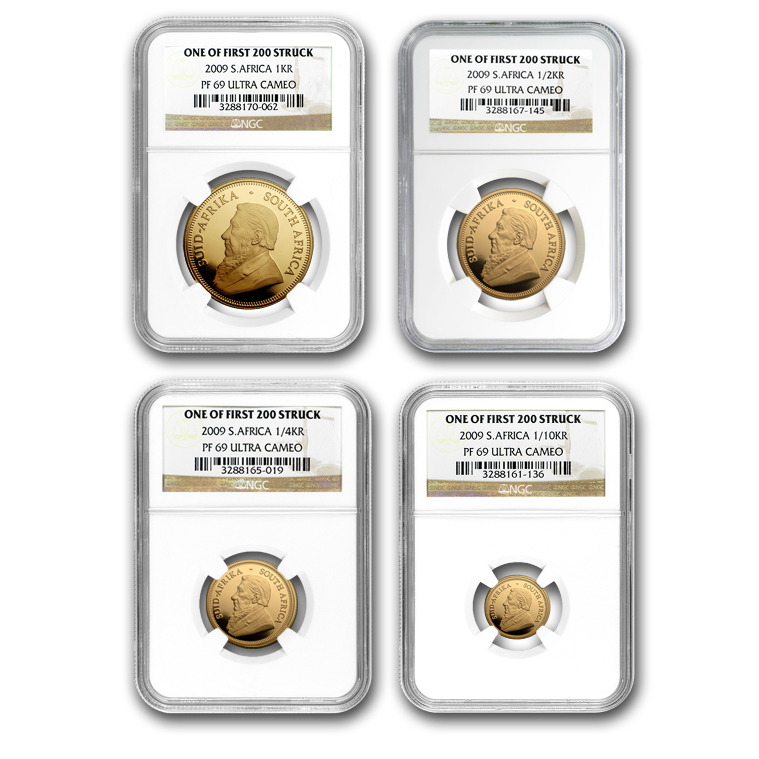 2009 4-Coin Gold South African Krugerrand Prf Set PF-69 UCAM NGC