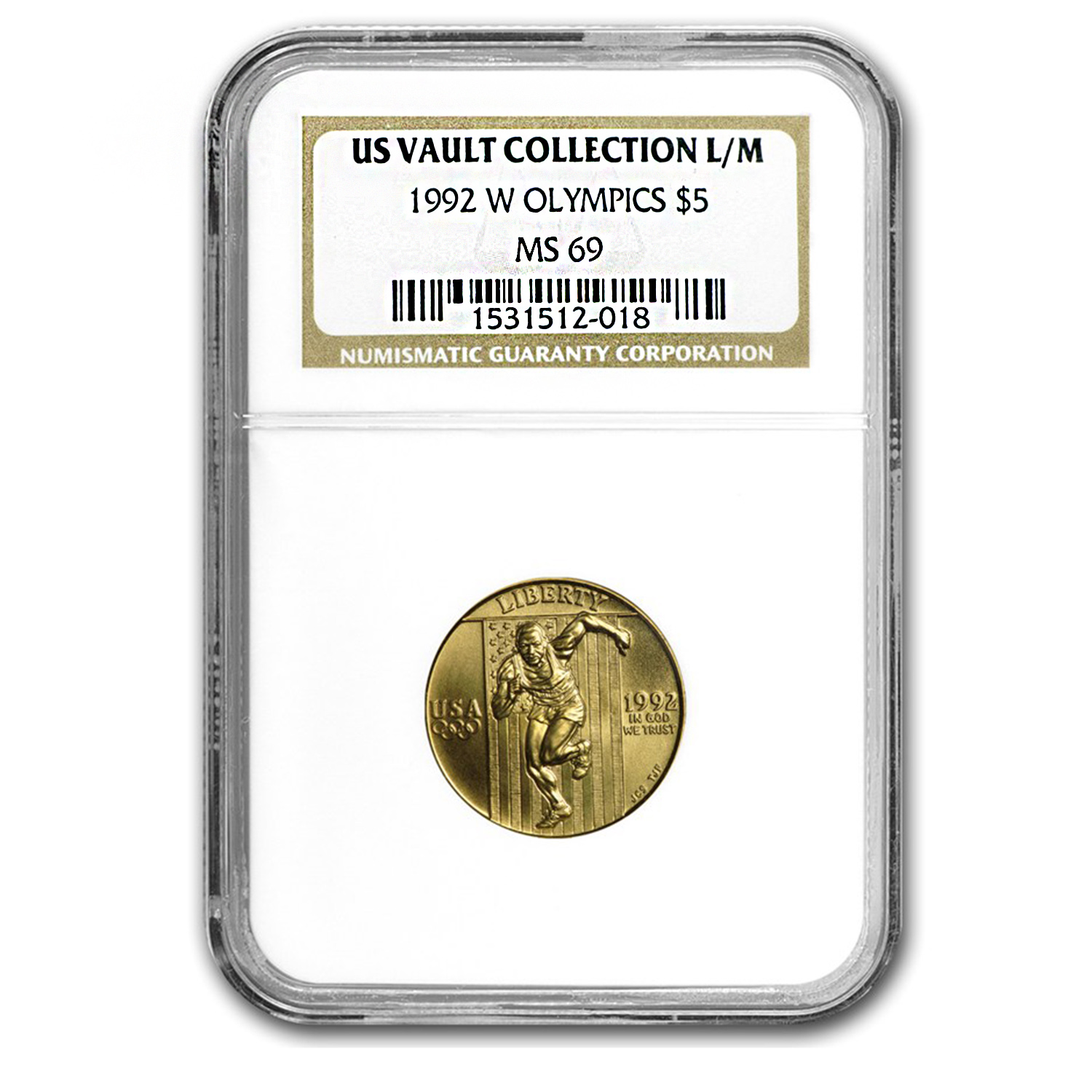 1992-W Gold $5 Commem Olympic MS-69 NGC