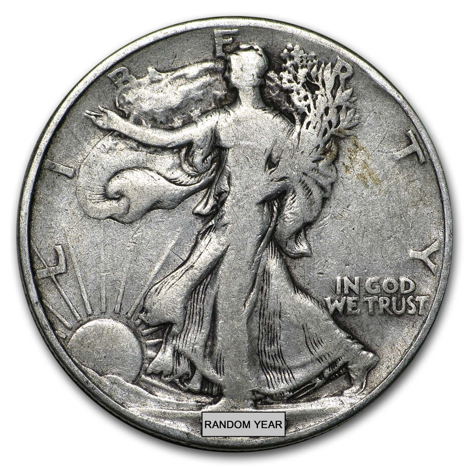 90% Silver Walking Liberty Half-Dollars $500 Face-Value Bag