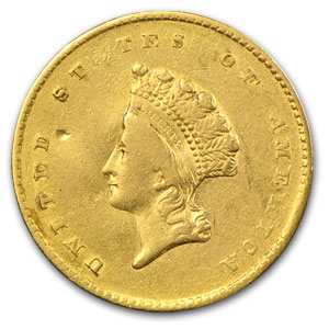 1855 $1 Indian Head Gold VF Details