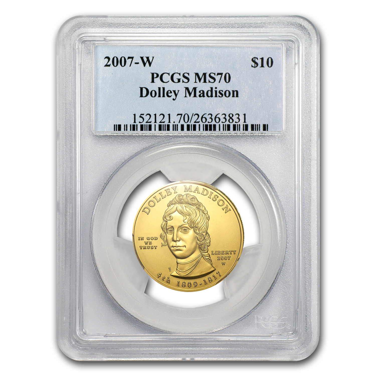 2007-W 1/2 oz Gold Dolley Madison MS-70 PCGS