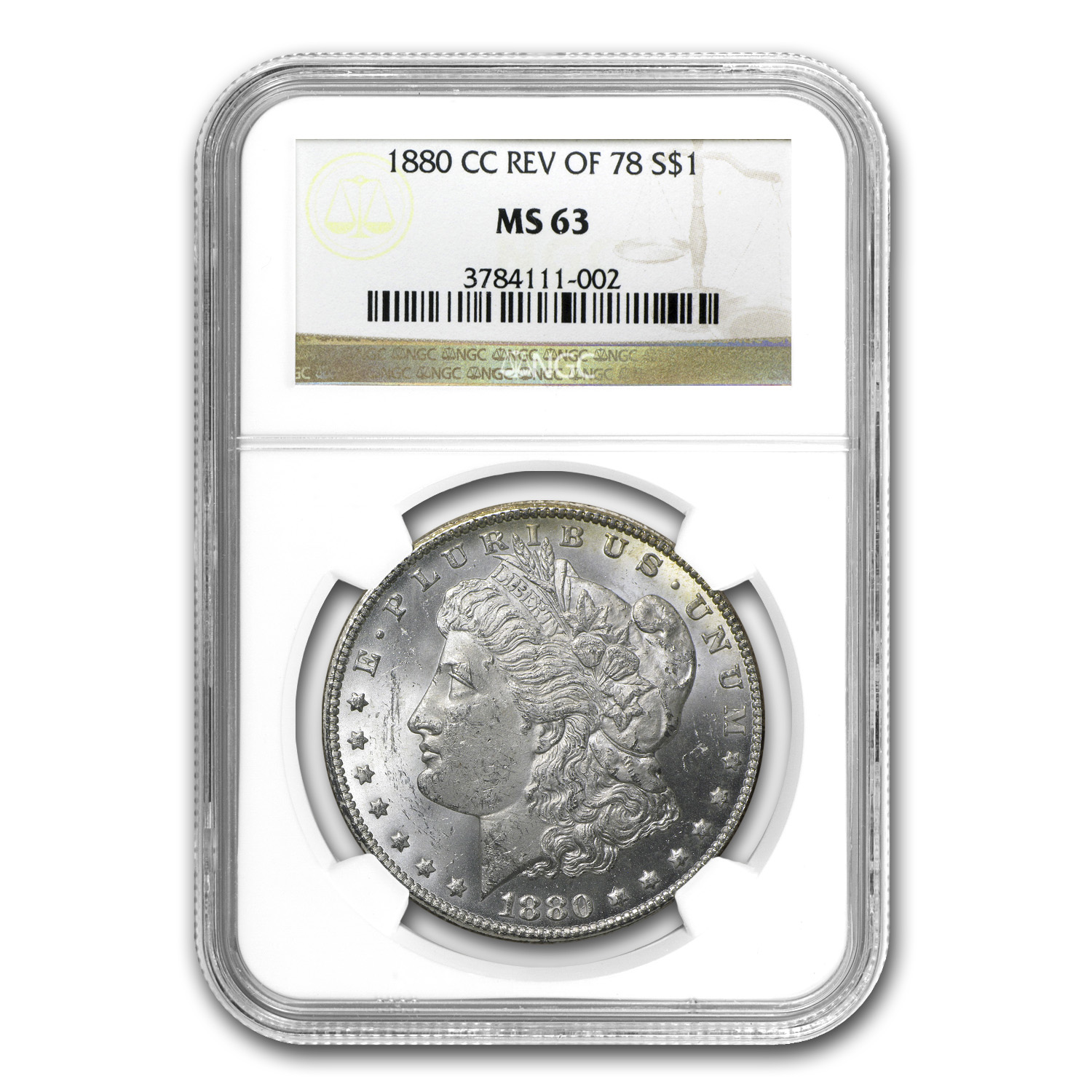 1880-CC Morgan Dollar Rev of 1878 MS-63 NGC