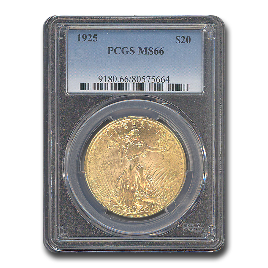 1925 $20 Saint-Gaudens Gold Double Eagle MS-66 PCGS