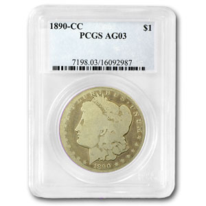1890-CC Morgan Dollar Almost Good-3 PCGS Low Ball Registry Coin