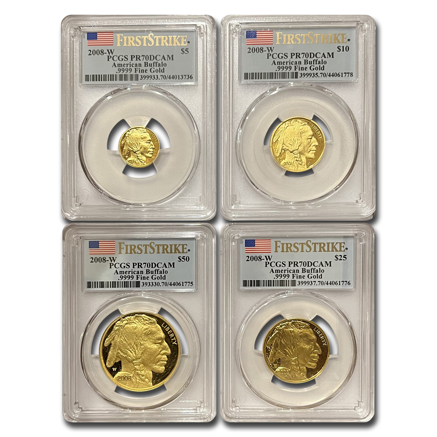 2008-W 4-Coin Prf Gold Buffalo Set PR-70 PCGS (FS, Registry Set)