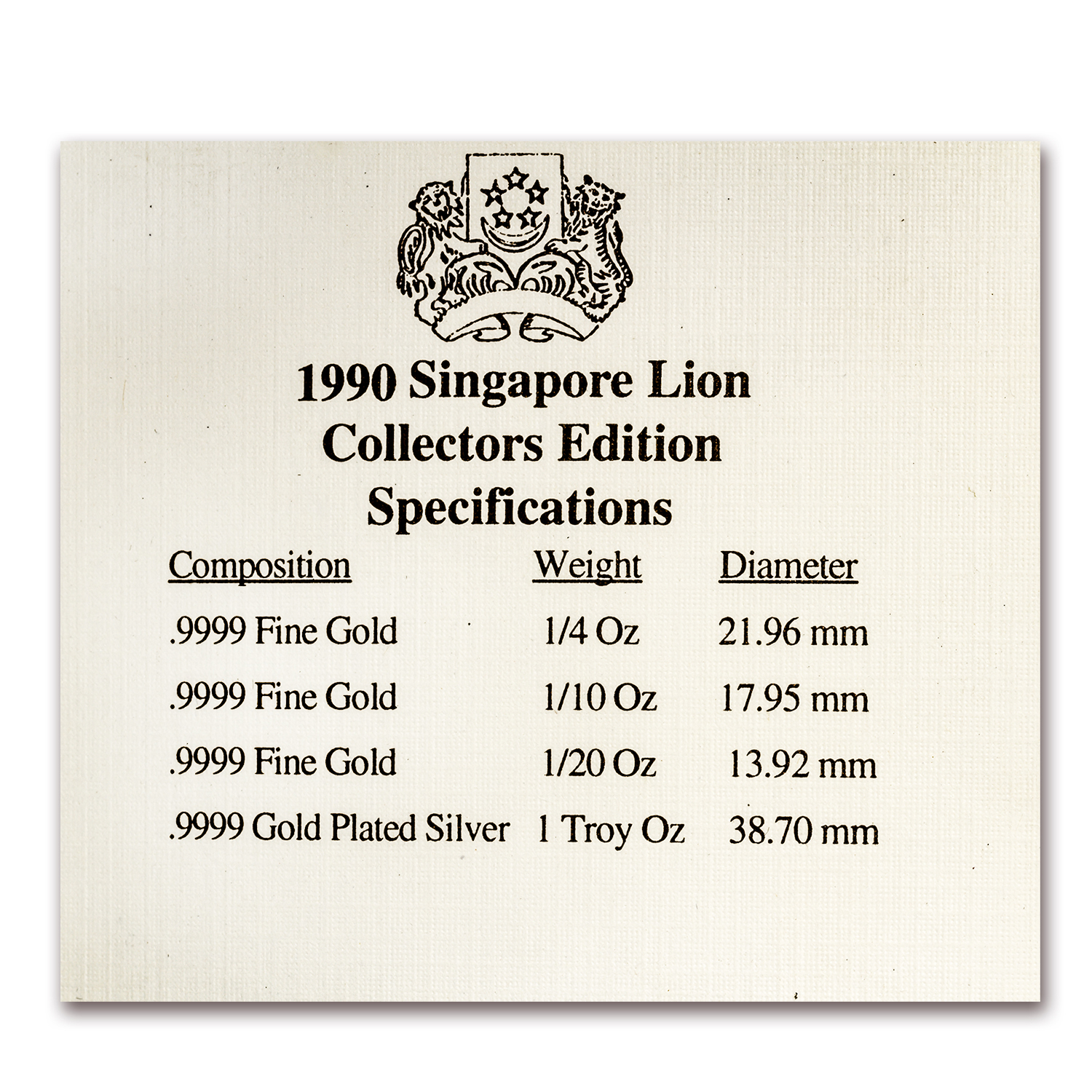 1990 Singapore 4-Coin Gold/Silver Year of the Horse Proof Set
