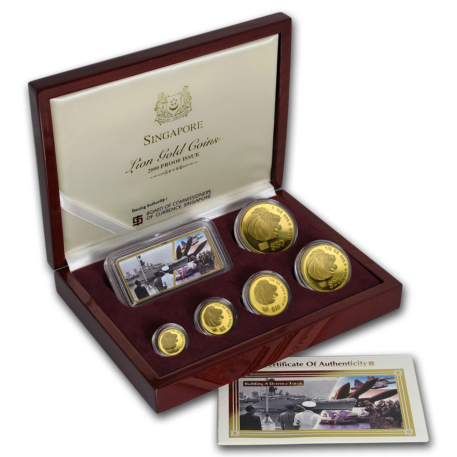 2000 Singapore 5-Coin Gold Lion Proof Set