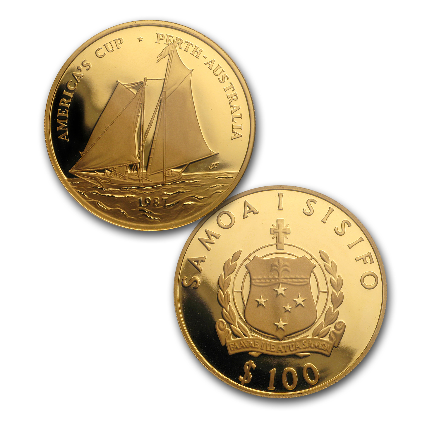 1987 Samoa 3-Coin Gold/Silver America's Cup Proof Set
