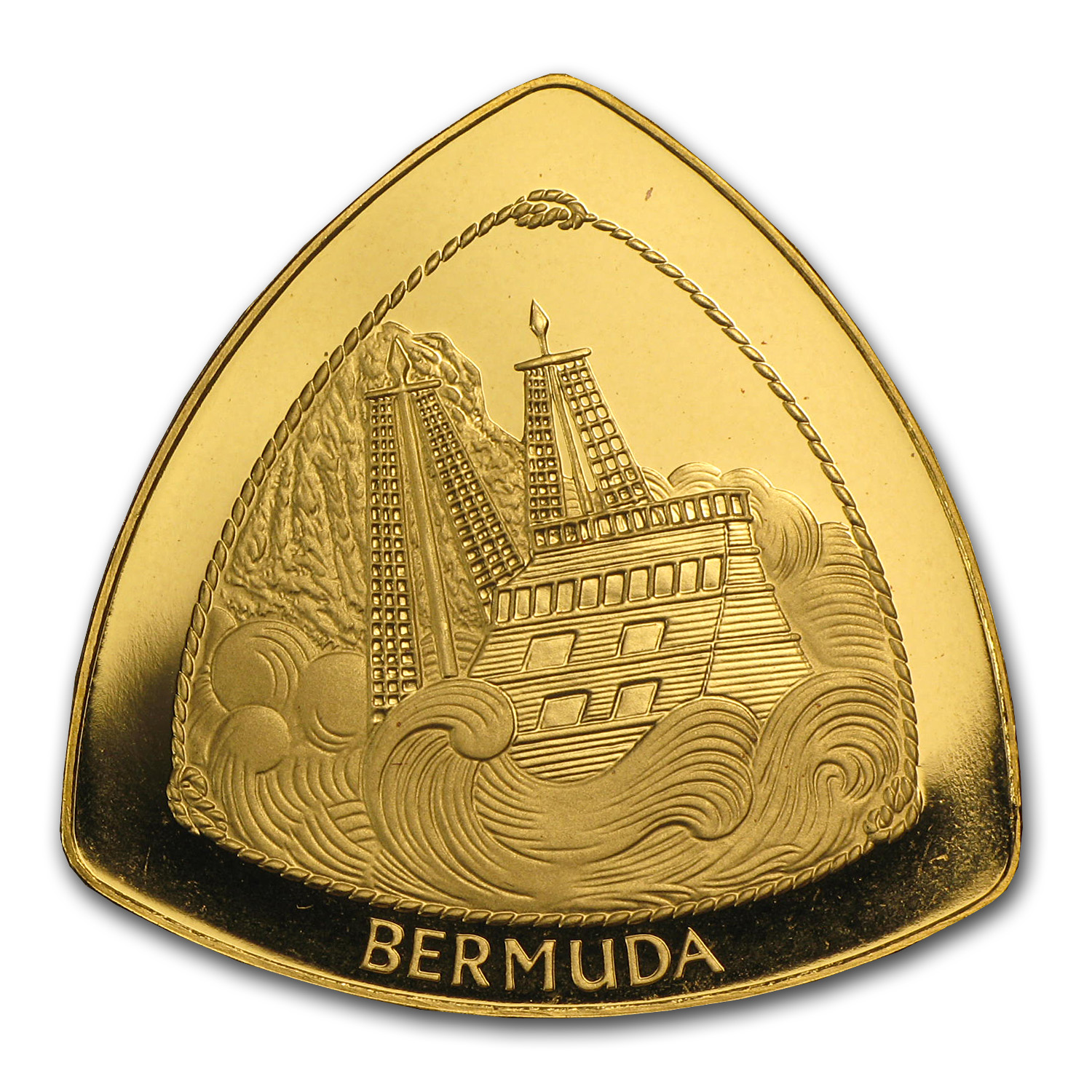 Bermuda 1997 Triangle $30 1/2 oz. Gold Coin. (Proof)