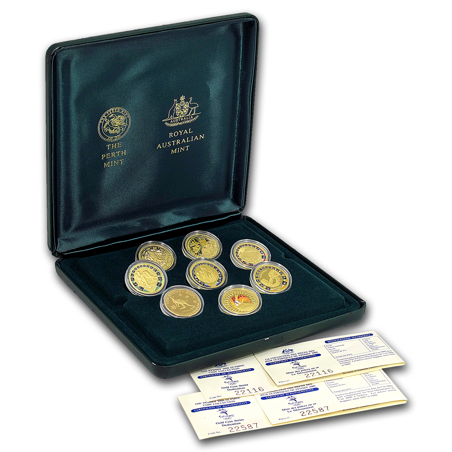 2000 Australia 8-Coin Gold Sydney Olympics Proof Set
