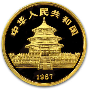 1987 (1/20 oz Proof) Gold Chinese Pandas - PF-68 UCAM NGC