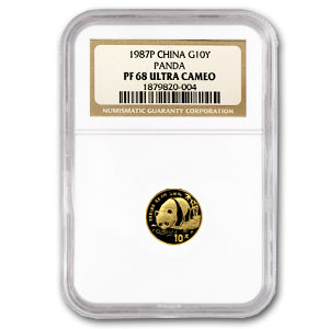 1987 1/10 oz Proof Gold Chinese Panda PF-68 NGC