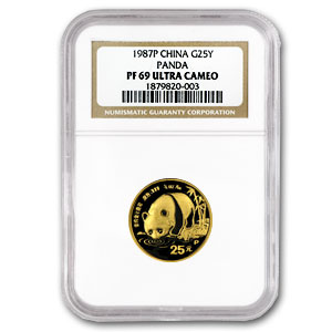 1987 (1/4 oz Proof) Gold Chinese Pandas - PF-69 UCAM NGC