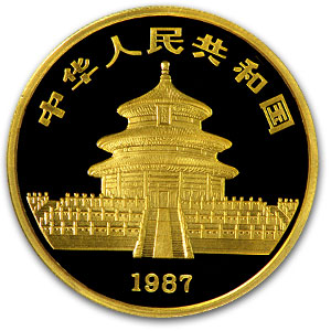 1987 China 1 oz Proof Gold Panda PF-68 NGC
