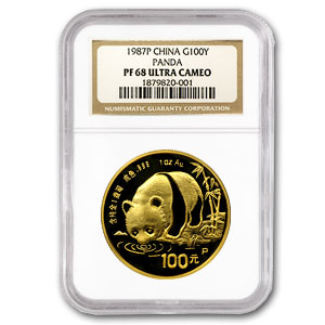 1987 (1 oz Proof) Gold Chinese Pandas - PF-68 UCAM NGC