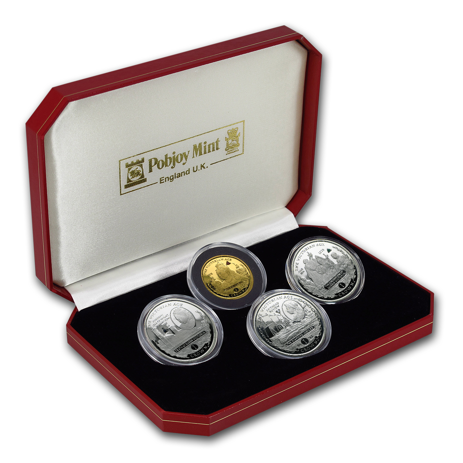2001 Gibraltar 4-Coin Gold/Silver Victorian Age Proof Set