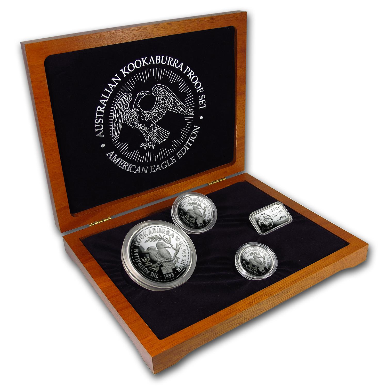 1993 4 Piece Silver Kookaburra Proof Set American Eagle
