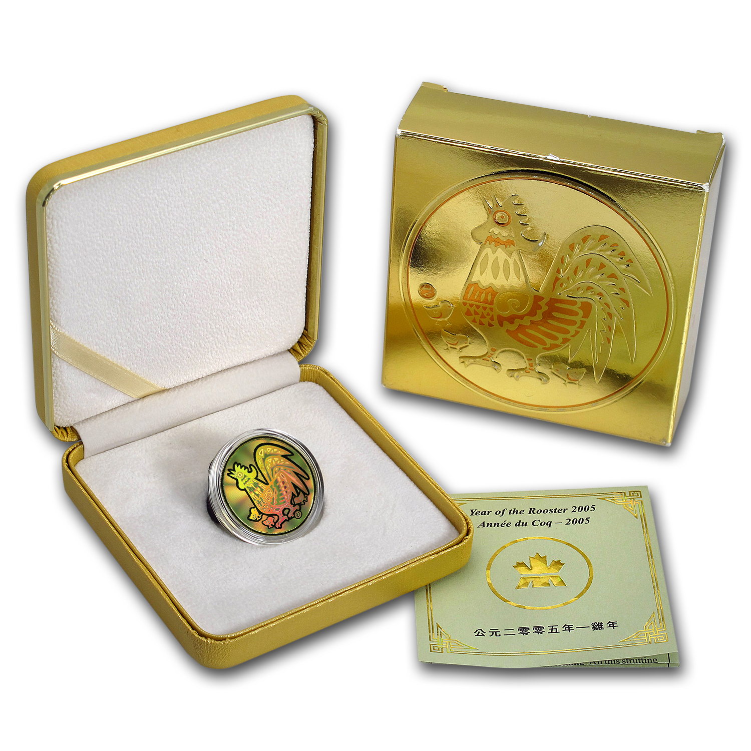 2005 Canada Gold $150 Rooster (Hologram w/Box & COA)