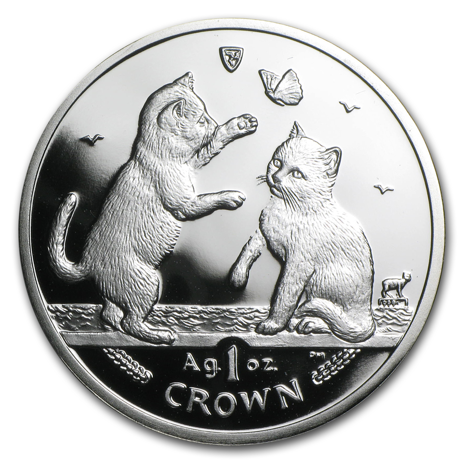 Isle of Man 2004 1 Crown Silver Proof Tonkinese Kittens