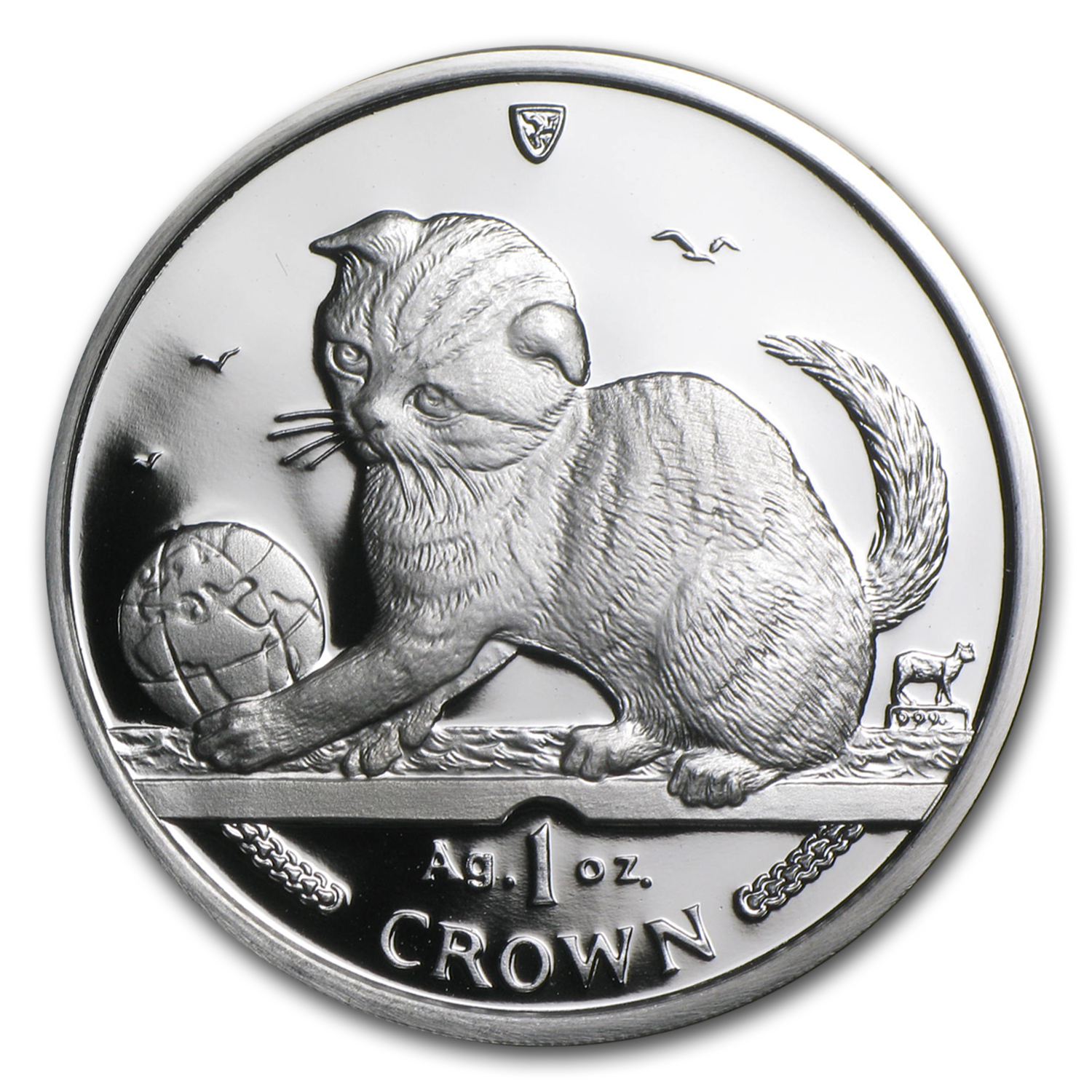 2000 Isle of Man Silver 1 Crown Scottish Fold Cat Proof