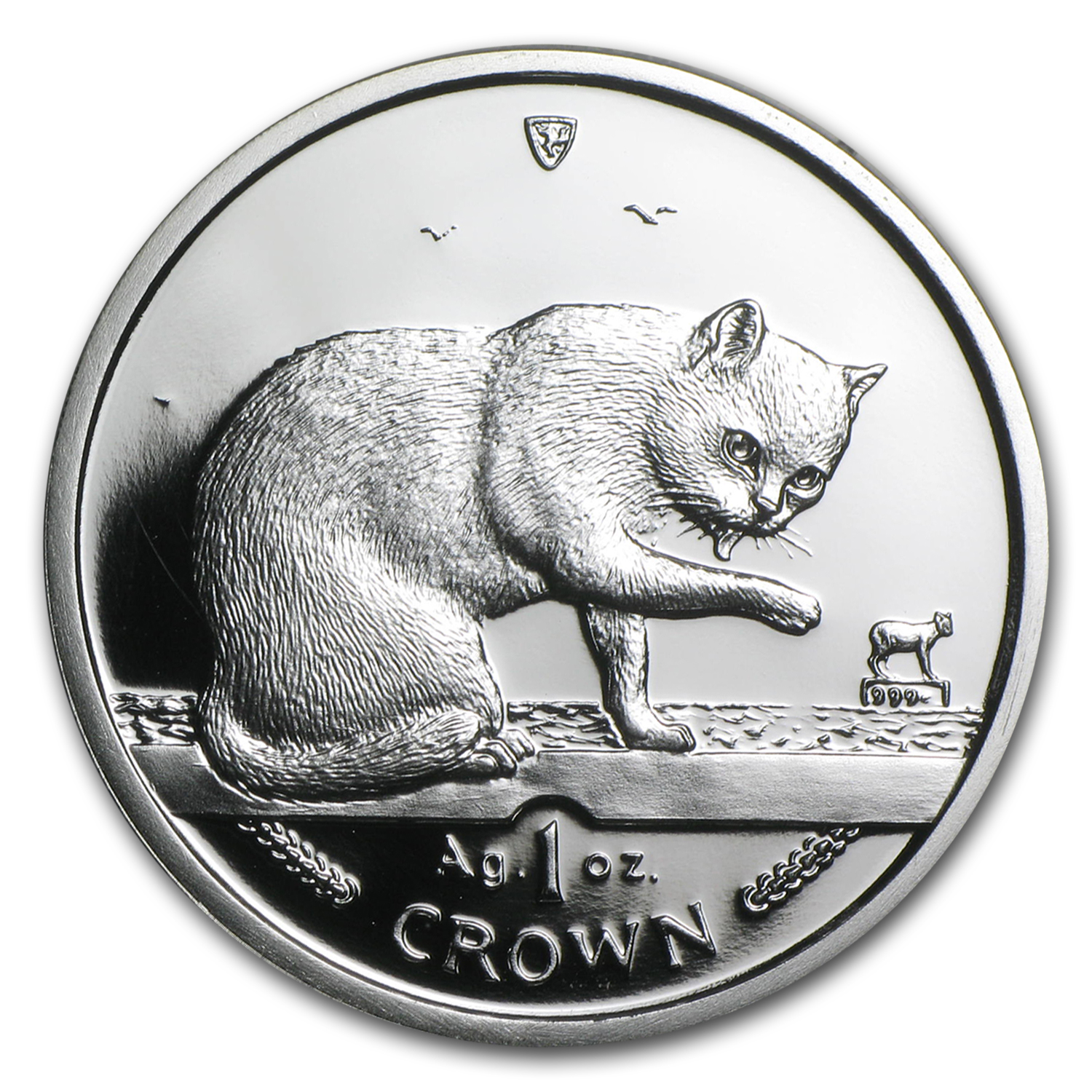 Isle of Man 1999 1 Crown Silver Proof British Blue Cat