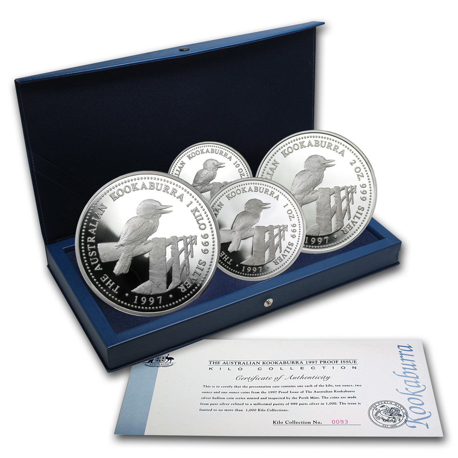 1997 Australia 4 Coin Silver Kookaburra Proof Set Gold