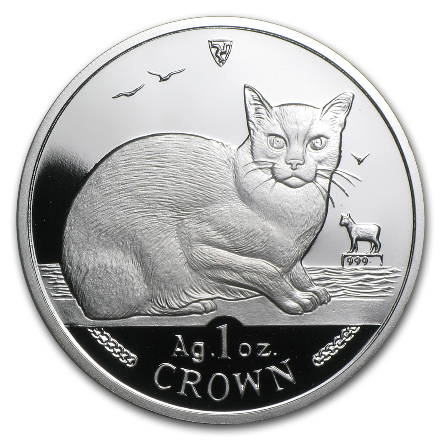 Isle of Man 1996 1 Crown Silver Proof Burmese Cat