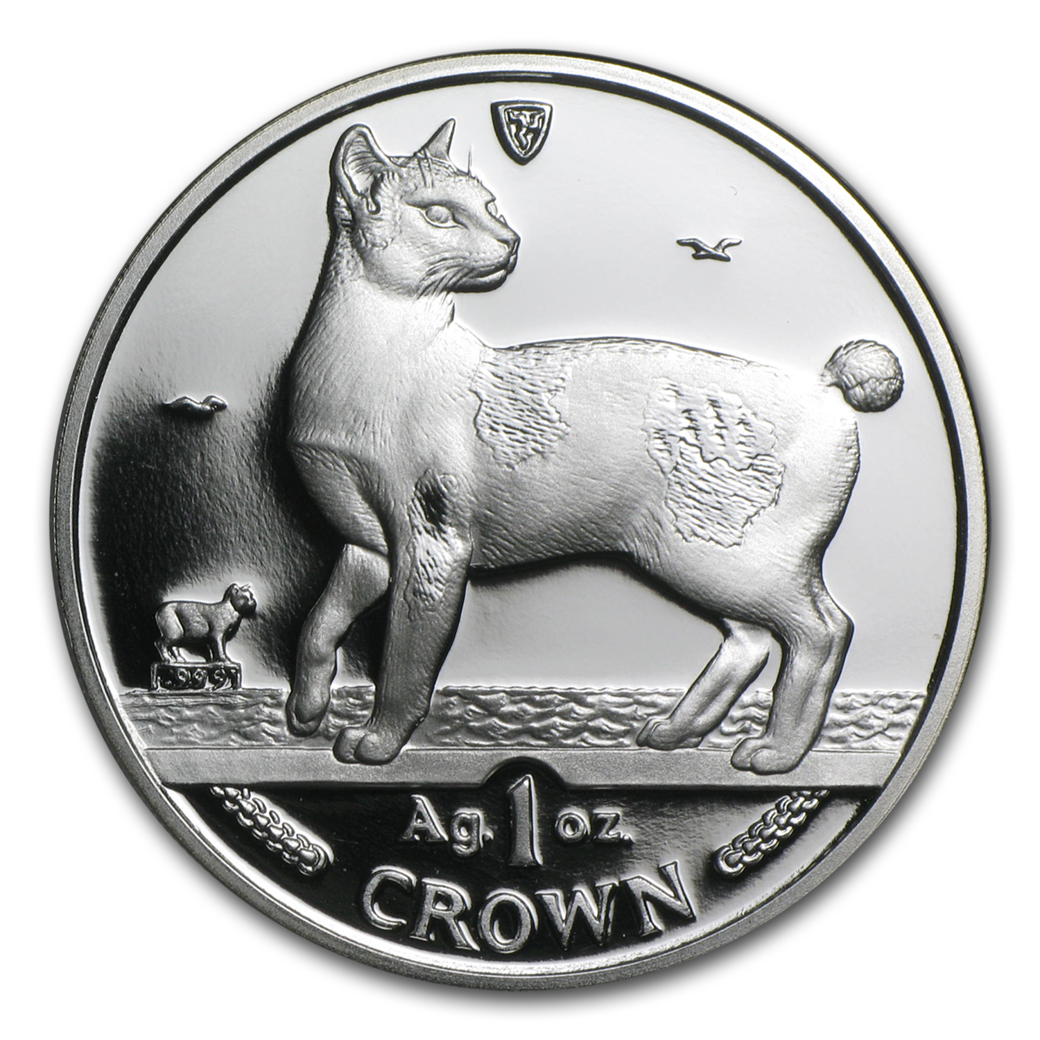 1994 Isle of Man Silver 1 Crown Japanese Bobtail Cat Proof