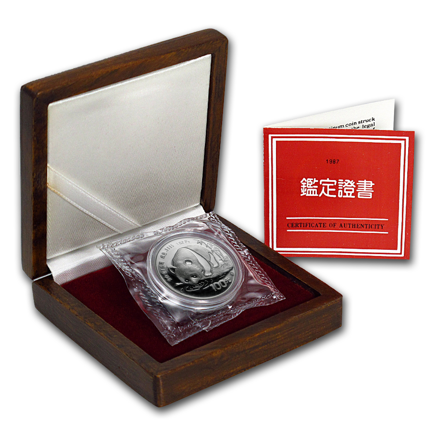1987 1 oz Proof Platinum Chinese Panda (w/Box & COA)