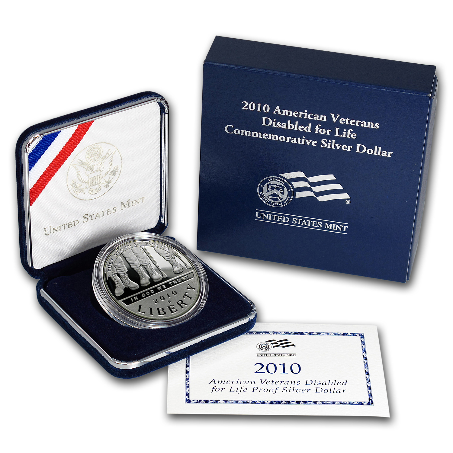 2010-W Disabled American Veterans $1 Silver Commem Prf (Box/COA)