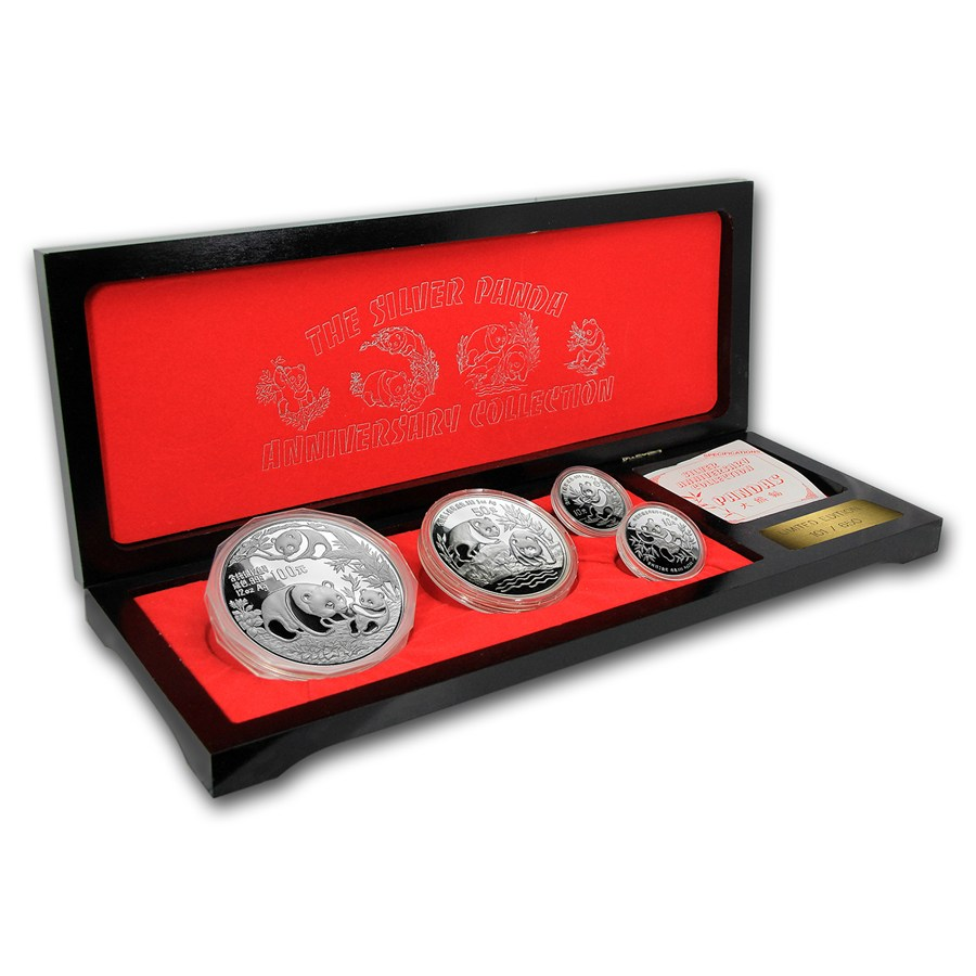 1991 china 10th anniversary silver panda proof collection 12 oz silver pandas apmex. Black Bedroom Furniture Sets. Home Design Ideas