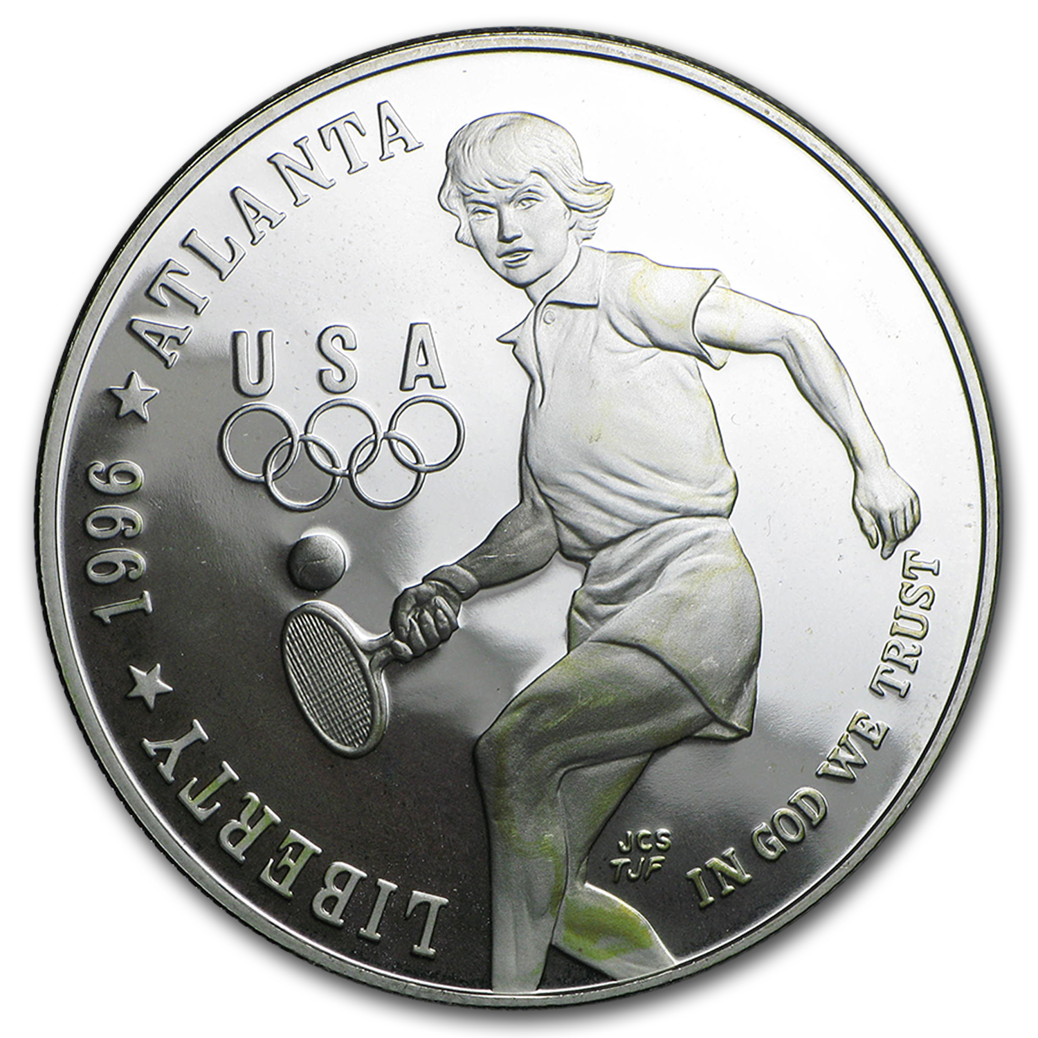 1996-P Olympic Tennis $1 Silver Commem Proof (Capsule only)