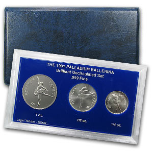1991 3-Coin Russian Palladium Ballerina Set
