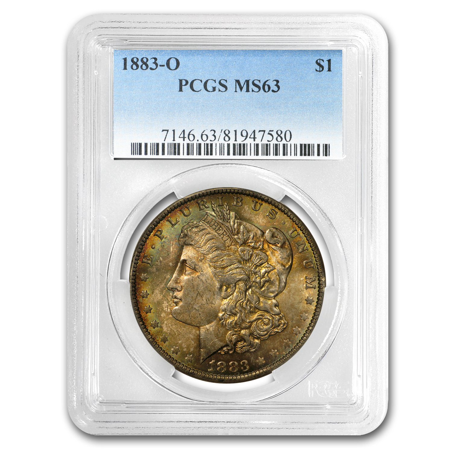 1883-O Morgan Dollar MS-63 PCGS (Autumn Toning)