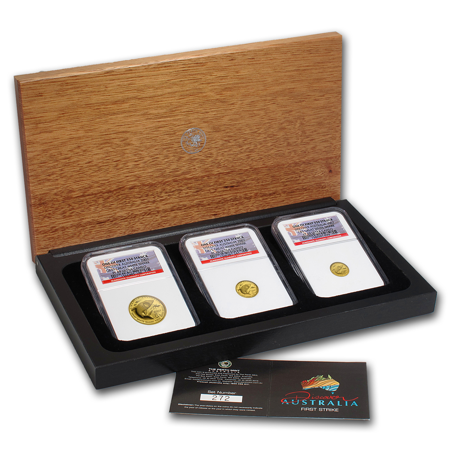 2007 0.64 oz Proof Gold Shark Discover 3-Coin Set w/Box & CoA
