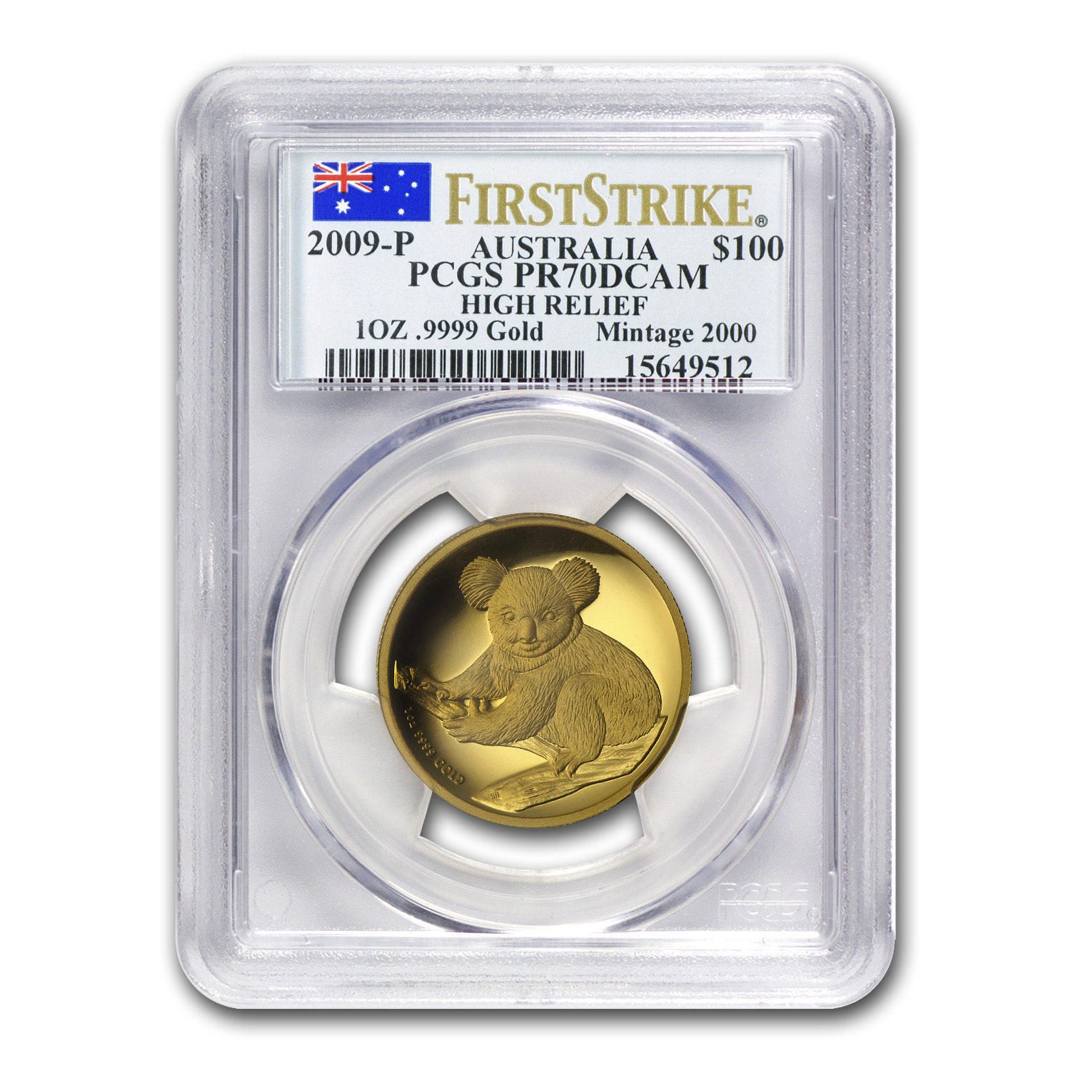 2009-P Australia 1 oz Gold Koala PR-70 PCGS (FS, High Relief)