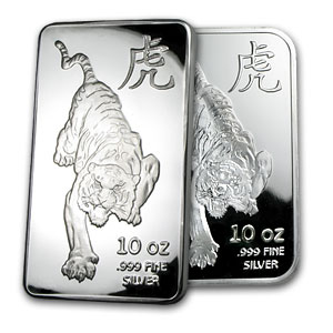 10 oz Silver Bar - Tiger (Proof-Like)