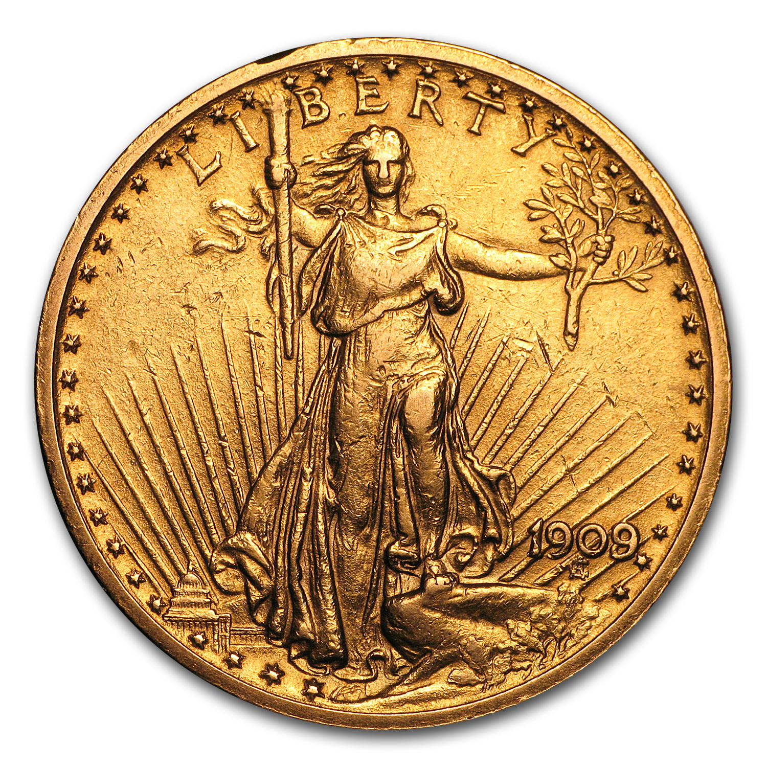 1909/8 $20 St. Gaudens Gold Double Eagle AU