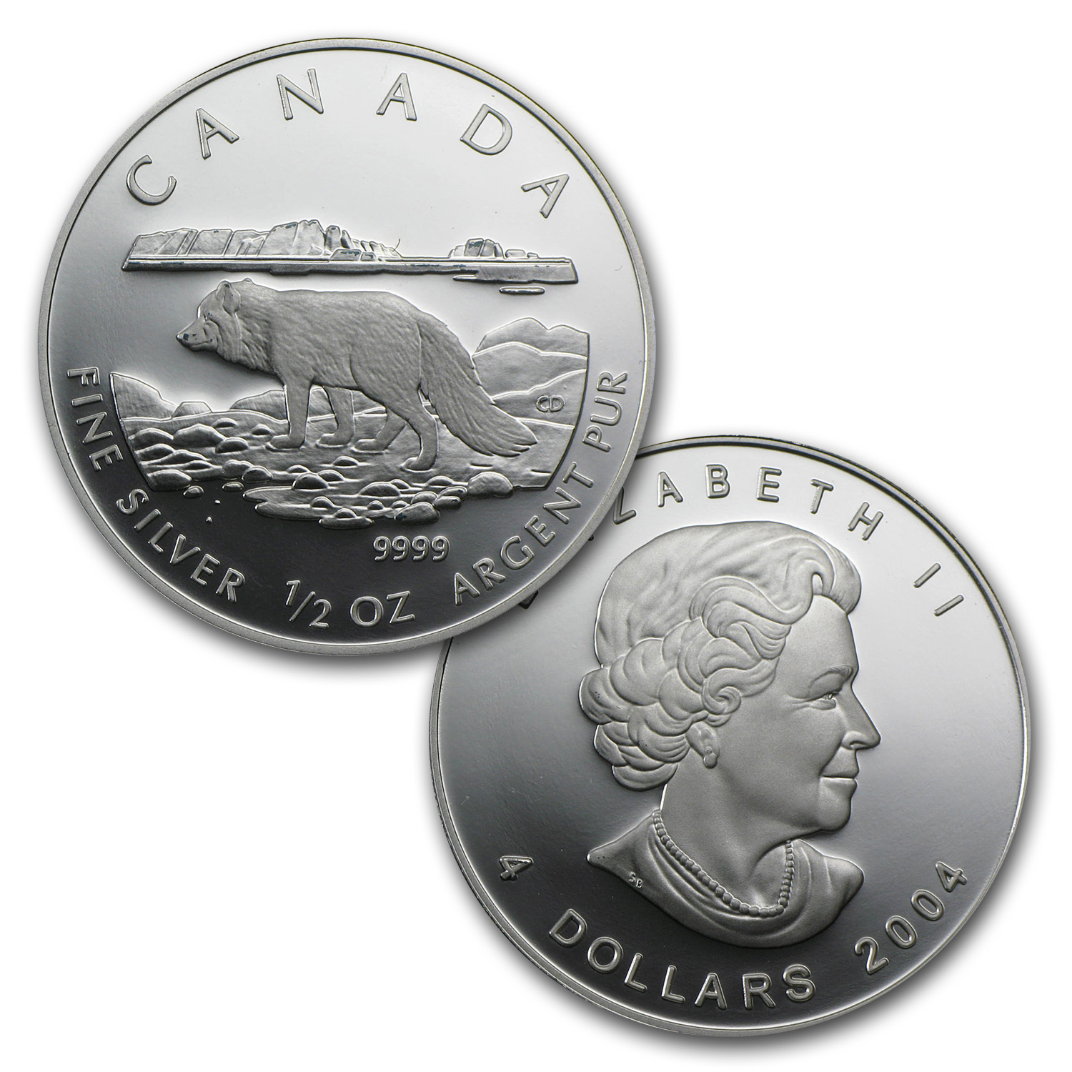 2004 Silver Canadian Arctic Fox 4-Coin Proof Set (W/Box & Coa)