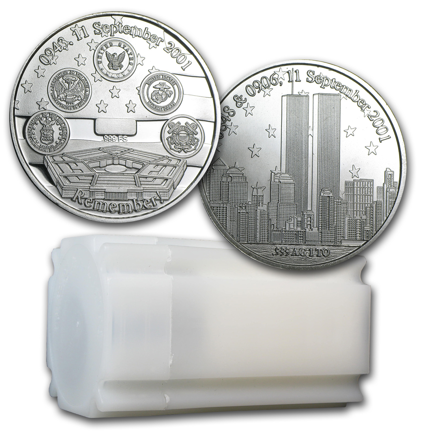 1 oz Silver Rounds - Remember! Twin Towers 9/11/2001