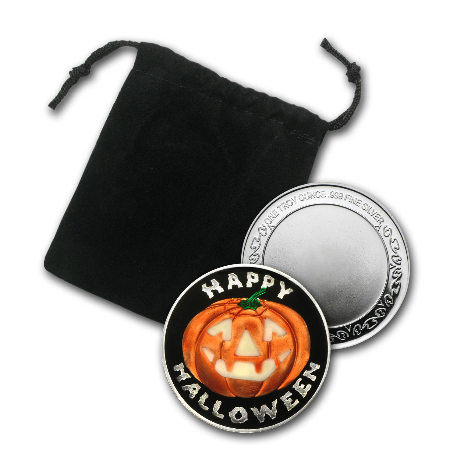 1 oz Silver Rnd Glow-In-the-Dark Jack O'Lantern (Pouch & Capsule)