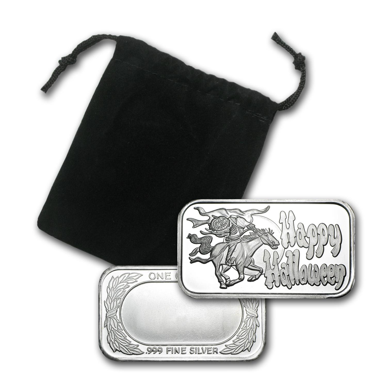 1 Oz Silver Bar Headless Horseman W Gift Pouch